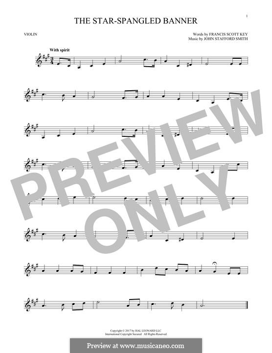 The Star Spangled Banner (National Anthem of The United States). Printable Scores: para violino by John Stafford Smith