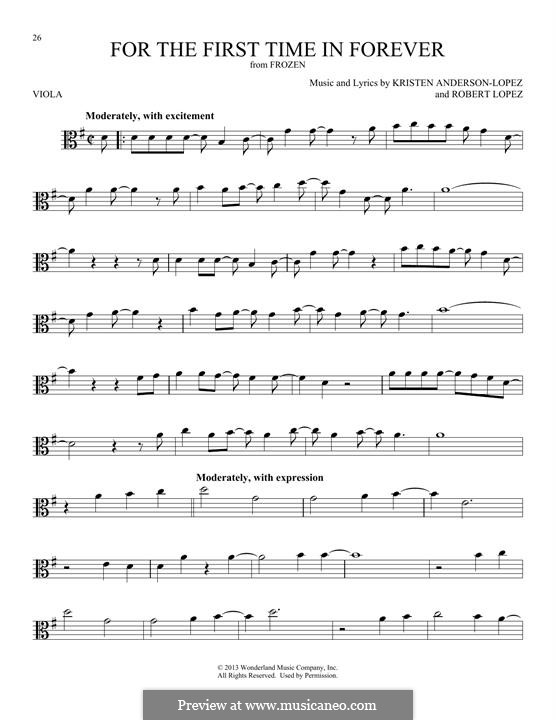 For the First Time in Forever (Kristen Bell & Idina Menzel): para viola by Robert Lopez, Kristen Anderson-Lopez