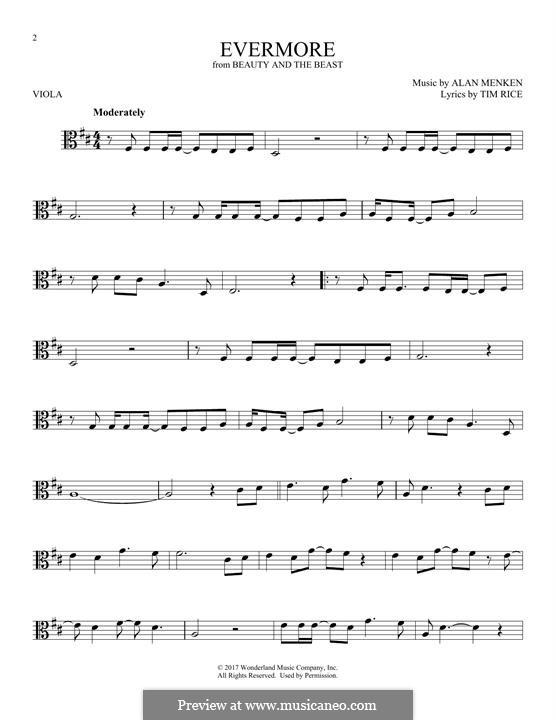 Evermore: para viola by Alan Menken