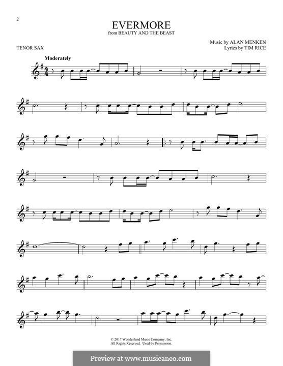 Evermore: para saxofone tenor by Alan Menken