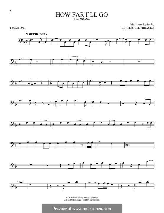 How Far I'll Go (Alessia Cara): para trombone by Lin-Manuel Miranda