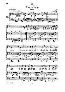 Die Forelle (The Trout), D.550 Op.32: para voz baixa e piano by Franz Schubert