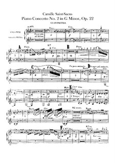 Concerto for Piano and Orchestra No.2 in G Minor, Op.22: clarinetas parte I-II by Camille Saint-Saëns