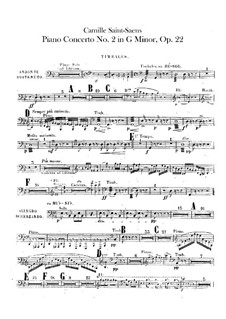 Concerto for Piano and Orchestra No.2 in G Minor, Op.22: Timpani and cymbals parts by Camille Saint-Saëns