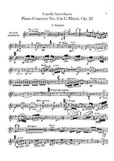 Concerto for Piano and Orchestra No.2 in G Minor, Op.22: violino parte I by Camille Saint-Saëns
