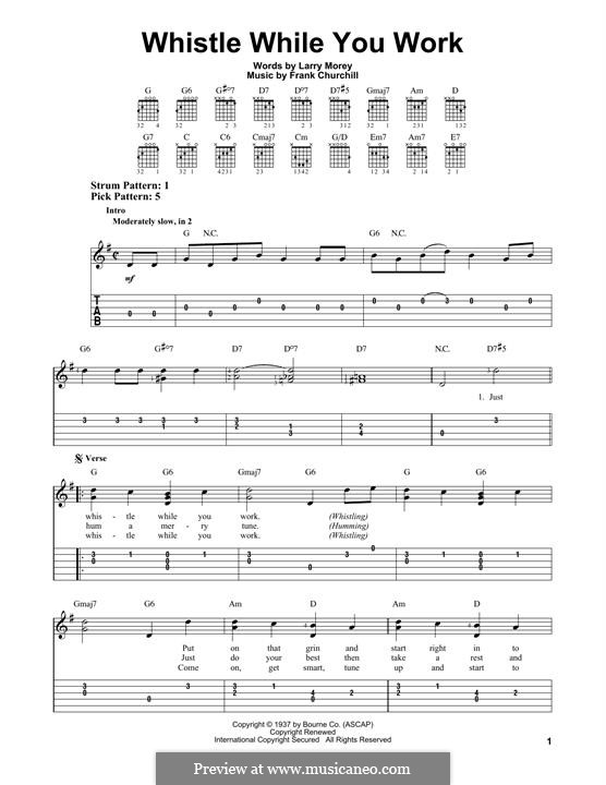Whistle While You Work (from Snow White and The Seven Dwarfs): Para guitarra com guia by Frank Churchill, Larry Morey