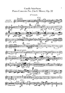 Concerto for Piano and Orchestra No.2 in G Minor, Op.22: violino parte II by Camille Saint-Saëns