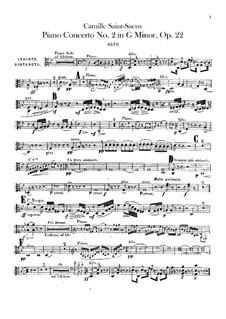 Concerto for Piano and Orchestra No.2 in G Minor, Op.22: parte viola by Camille Saint-Saëns