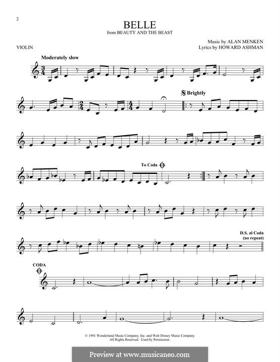 Belle (from Beauty and the Beast): para violino by Alan Menken