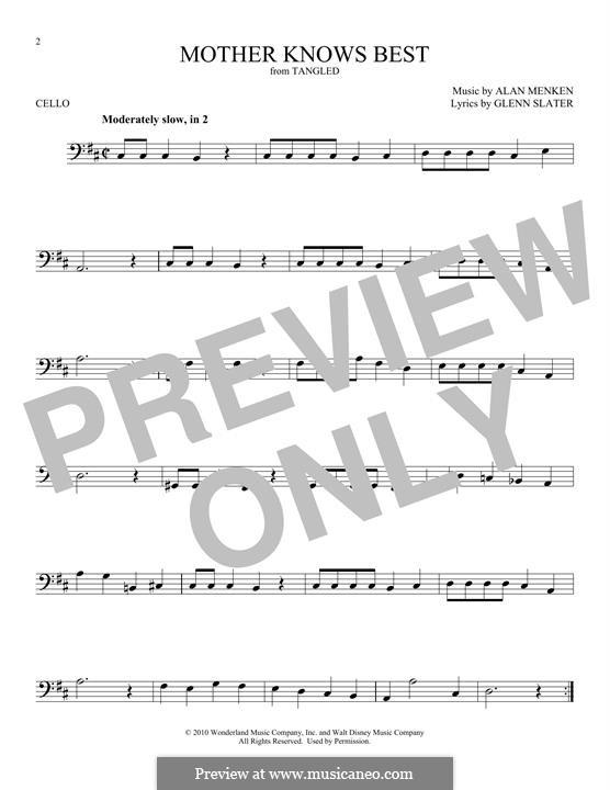 Mother Knows Best: para violoncelo by Alan Menken