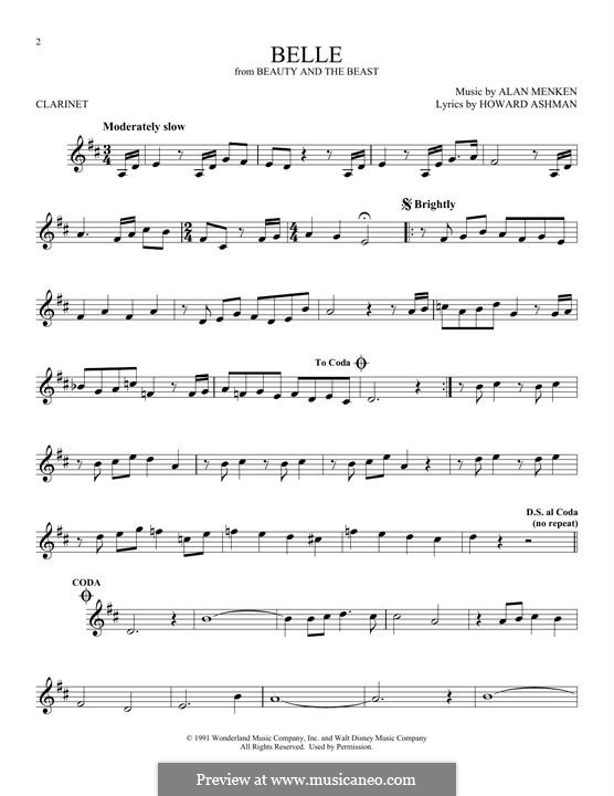 Belle (from Beauty and the Beast): para clarinete by Alan Menken