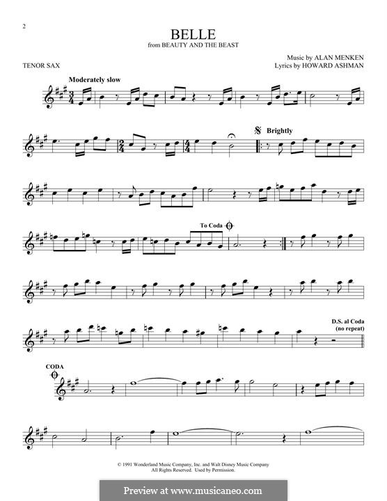 Belle (from Beauty and the Beast): para saxofone tenor by Alan Menken