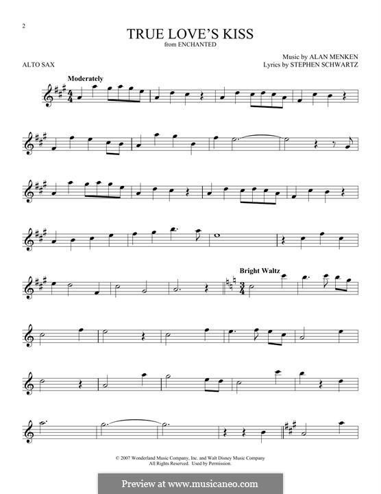 True Love's Kiss: para Saxofone Alto by Alan Menken