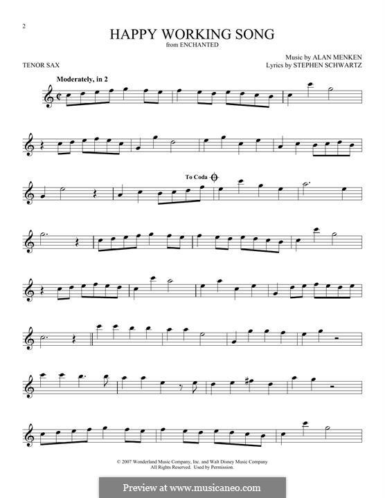 Happy Working Song: para saxofone tenor by Alan Menken