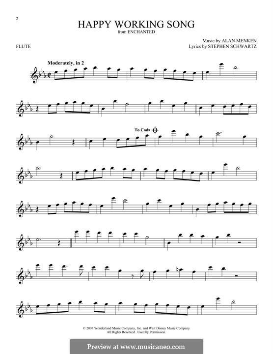 Happy Working Song: para flauta by Alan Menken