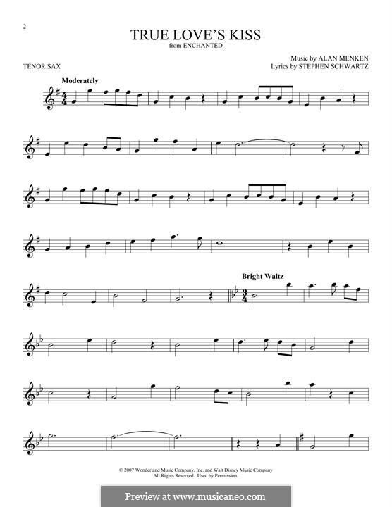 True Love's Kiss: para saxofone tenor by Alan Menken