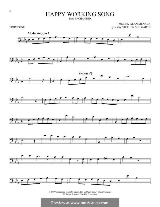 Happy Working Song: para trombone by Alan Menken
