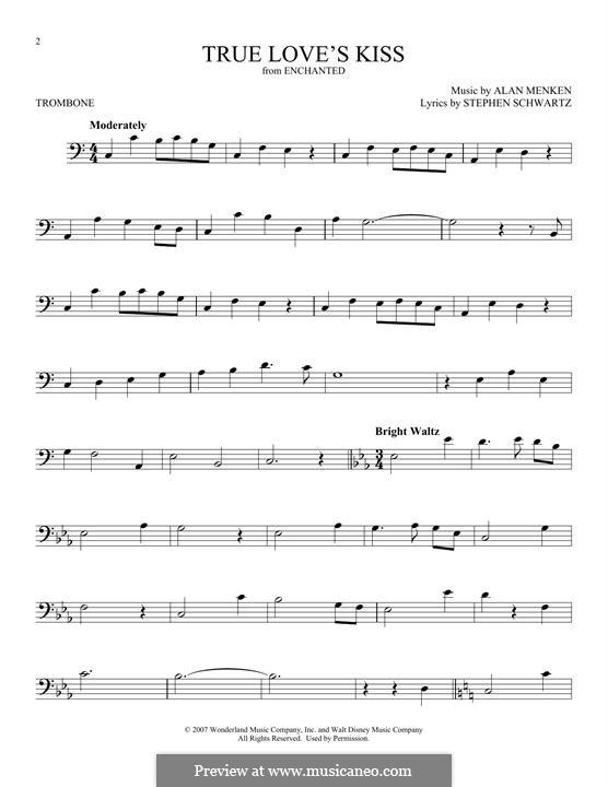 True Love's Kiss: para trombone by Alan Menken