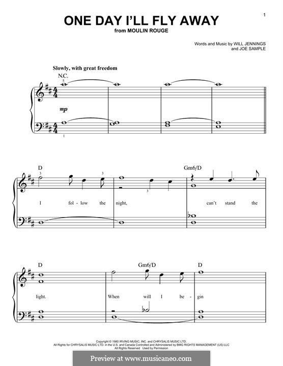 One Day I'll Fly Away (Randy Crawford): Para Piano by Joe Sample