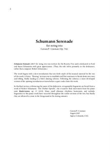 Schumann Serenade for string trio, Op.732: Schumann Serenade for string trio by Carson Cooman