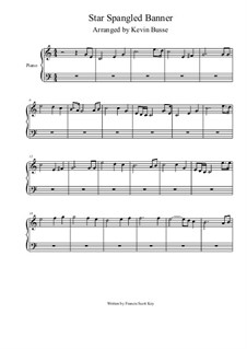 The Star Spangled Banner (National Anthem of The United States): For piano (4/4 time) by John Stafford Smith