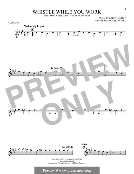 Whistle While You Work (from Snow White and The Seven Dwarfs): para Saxofone Alto by Frank Churchill, Larry Morey
