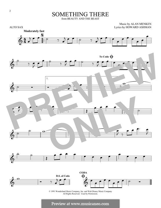 Something There (from Beauty and the Beast): para Saxofone Alto by Alan Menken