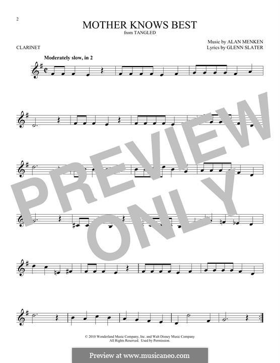 Mother Knows Best: para clarinete by Alan Menken