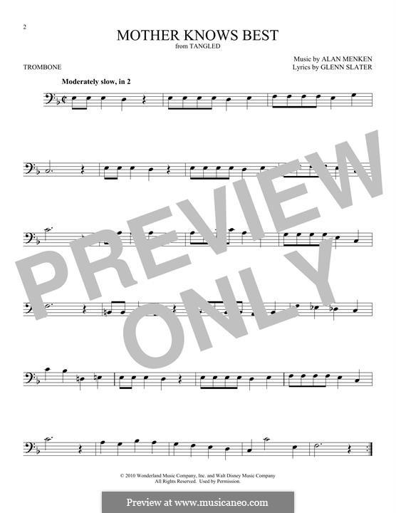 Mother Knows Best: para trombone by Alan Menken