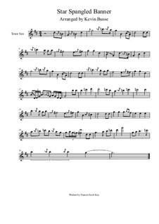 The Star Spangled Banner (National Anthem of The United States): For tenor saxophone solo by Kevin Busse by John Stafford Smith
