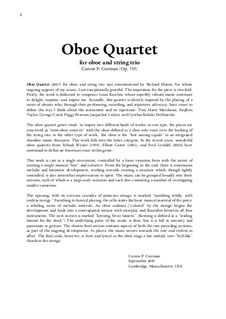 Oboe Quartet for oboe and string trio, Op.735: Oboe Quartet for oboe and string trio by Carson Cooman