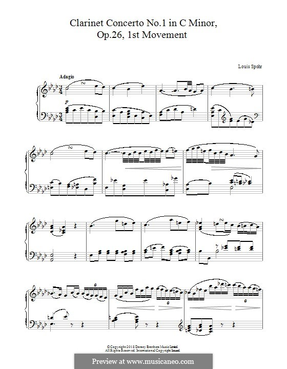 Concerto for Clarinet and Orchestra No.1 C Minor, Op.26: movimento I, para piano by Louis Spohr