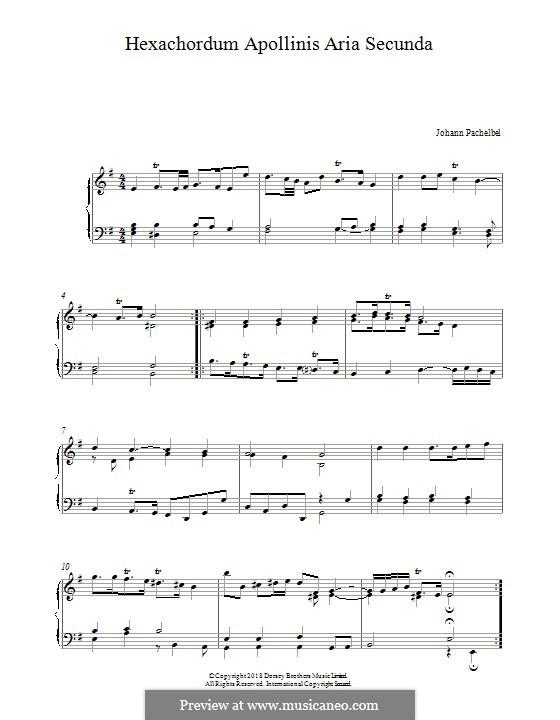 Hexachordum Apollinis (Six Strings of Apollo): Aria secunda, for piano by Johann Pachelbel
