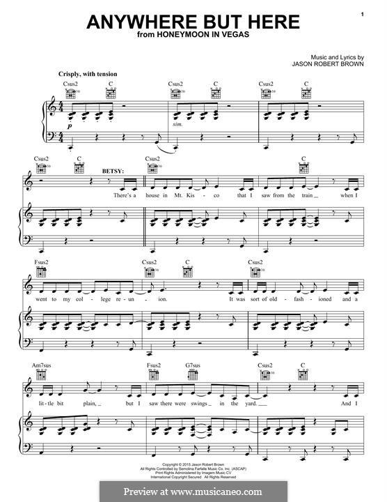 Anywhere But Here: Para vocais e piano (ou Guitarra) by Jason Robert Brown