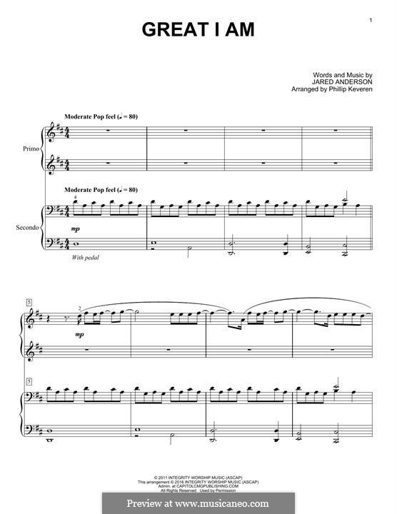 Great I am: para piano de quadro mãos by Jared Anderson