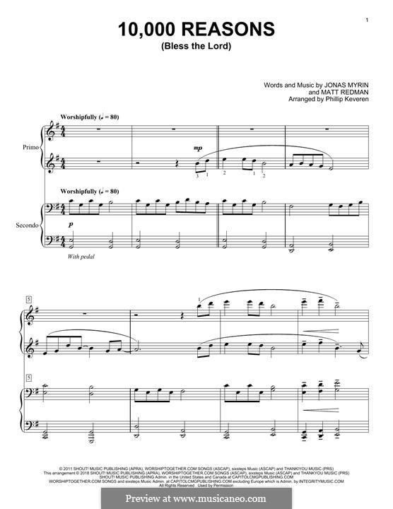 10,000 Reasons (Bless the Lord): para piano de quadro mãos by Jonas Myrin, Matt Redman