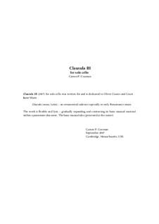 Clausula III for solo cello, Op.748: Clausula III for solo cello by Carson Cooman