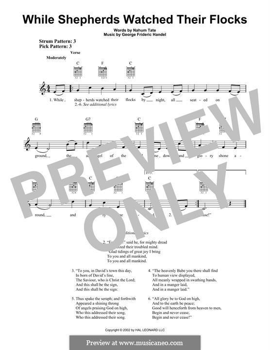 While Shepherds Watched Their Flocks: Para guitarra com guia by Georg Friedrich Händel