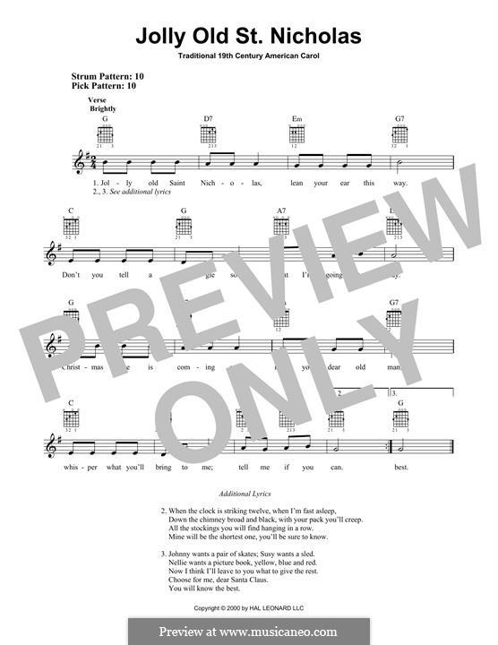 Jolly Old St. Nicholas: Para guitarra com guia by folklore