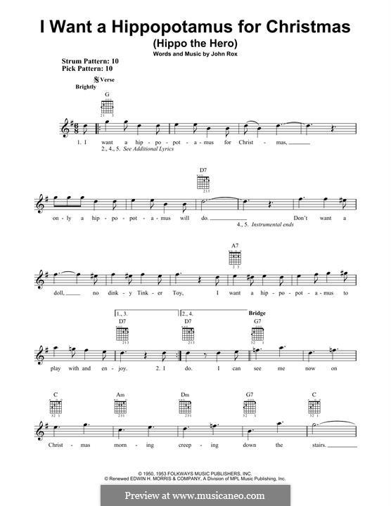 I Want a Hippopotamus for Christmas (Hippo the Hero): Para guitarra com guia by John Rox