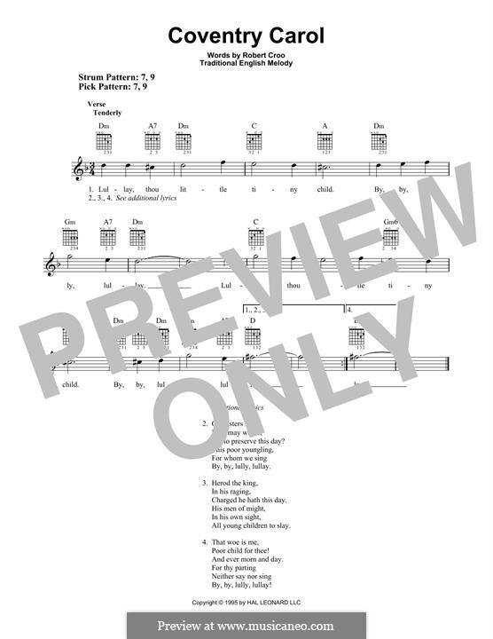 Coventry Carol: Para guitarra com guia by folklore