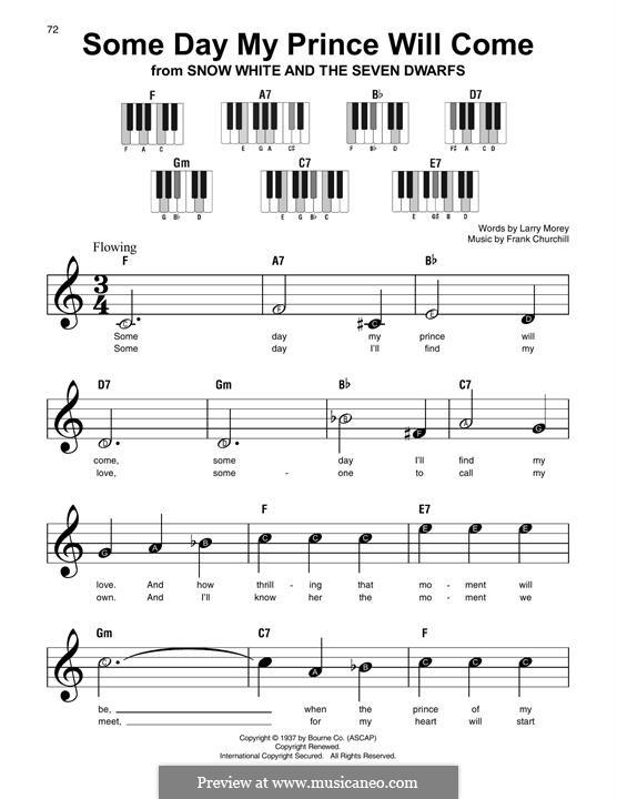 Some Day My Prince Will Come (from Snow White and The Seven Dwarfs): Facil para o piano by Frank Churchill