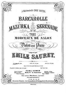 Barcarolle for Violin and Piano, Op.6 No.1: Barcarolle for Violin and Piano by Émile Sauret