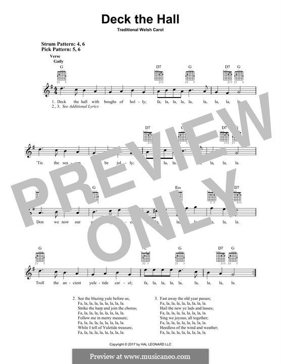 Deck the Hall (Printable): Para guitarra com guia by folklore