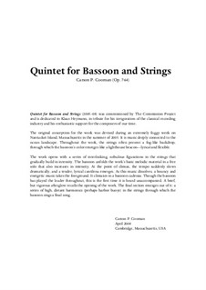 Quintet for Bassoon and Strings (2005–08), Op.764: Quintet for Bassoon and Strings (2005–08) by Carson Cooman