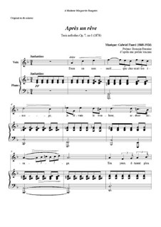 Three Songs, Op.7: No.1 Après un rêve, for voice and piano by Gabriel Fauré