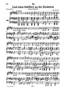 Lied eines Schiffers an die Dioskuren (Boatman's Song to the Dioscuri), D.360 Op.65 No.1: para voz baixa e piano by Franz Schubert