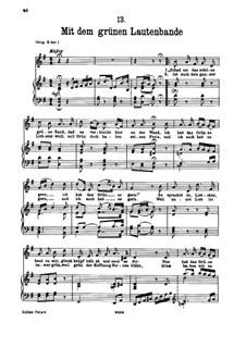 No.13 Mit dem grünen Lautenbande (With the Green Lute-Riband): para voz baixa e piano by Franz Schubert