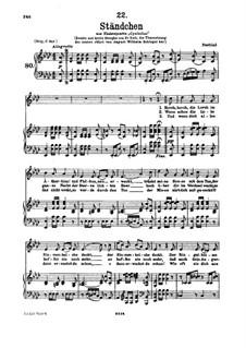 Serenade 'Horch, horch die Lerch im Ätherblau', D.889: para voz baixa e piano by Franz Schubert