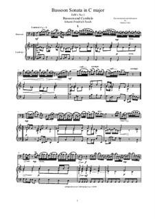 Bassoon Sonata in C major for Bassoon and Cembalo (or Piano), FaWv Nc1: Bassoon Sonata in C major for Bassoon and Cembalo (or Piano) by Johann Friedrich Fasch